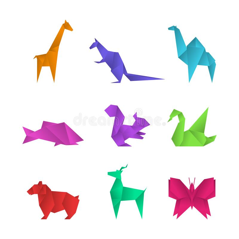 Realistic Detailed 3d Origami Paper Animals Set. Vector. Realistic Detailed 3d Origami Paper Animals Set Include of Crane, Butterfly, Swan and Giraffe. Vector vector illustration