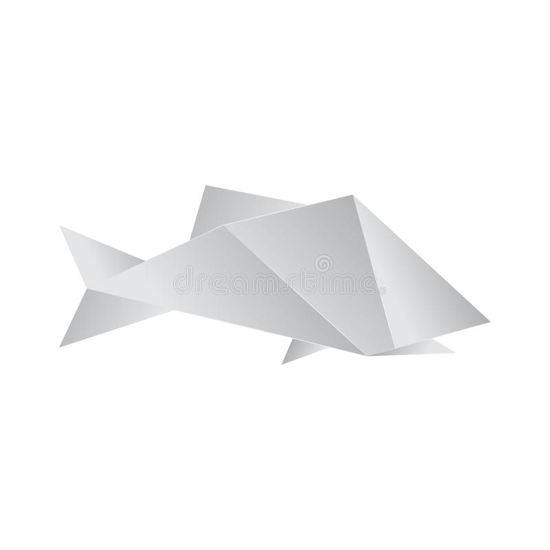 Realistic Detailed 3d Origami Paper Fish. Vector. Realistic Detailed 3d Origami White Paper Fish. Vector illustration of Asian Hobby royalty free illustration