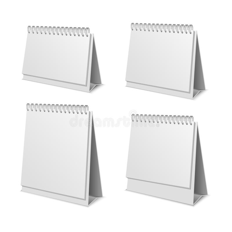Realistic Detailed 3d Paper Calendar Blank Set. Vector stock illustration