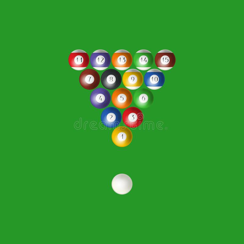 Realistic Detailed 3d Pool Billiard Balls in the Triangle. Vector. Realistic Detailed 3d Pool Billiard Balls in the Triangle Symbol of Competition, Game, Sport vector illustration