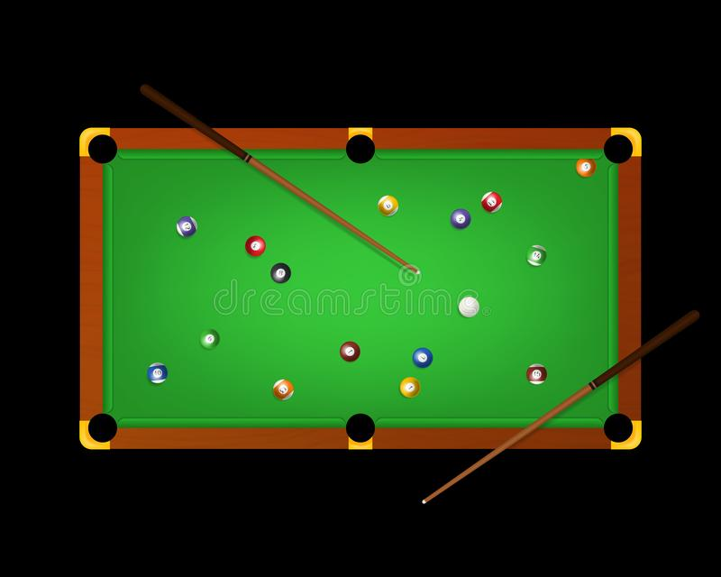 Realistic Detailed 3d Pool Billiard Green Table and Equipments on a Dark. Vector. Realistic Detailed 3d Pool Billiard Green Table and Equipments Top View on a stock illustration