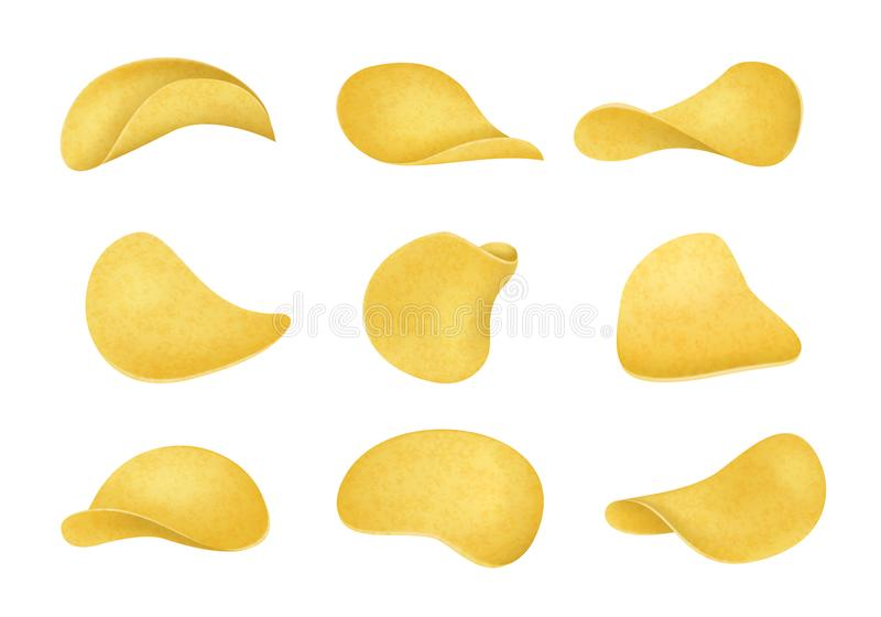 Realistic Detailed 3d Potato Chips Set Different View. Vector royalty free illustration