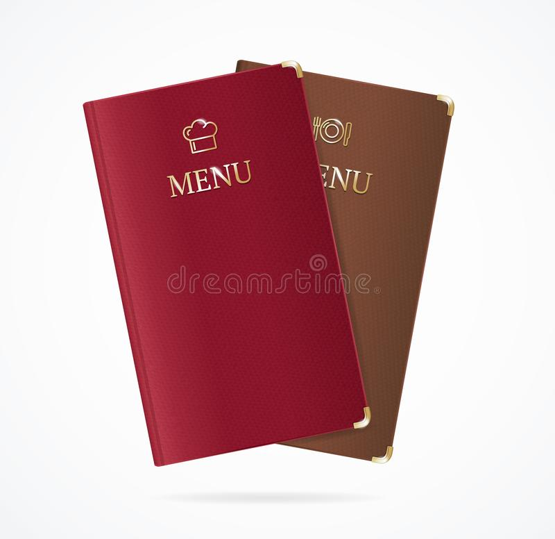 Realistic Detailed 3d Red and Brown Menu Restaurant Set. Vector stock illustration