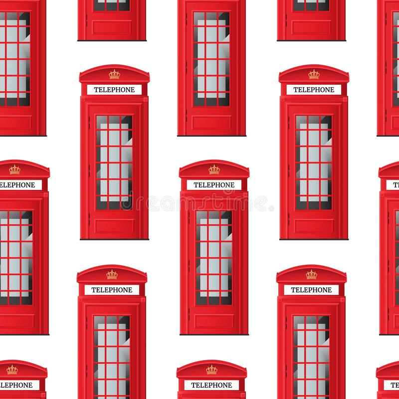 Realistic Detailed 3d Red London Phone Booth Seamless Pattern Background. Vector royalty free illustration