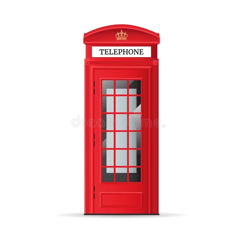 Realistic Detailed 3d Red London Phone Booth. Vector royalty free illustration