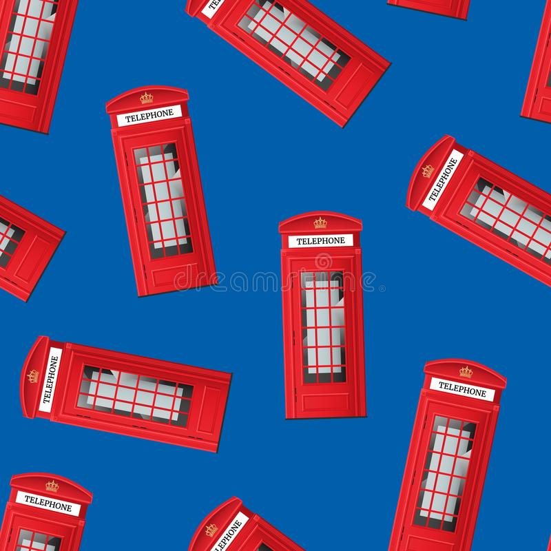 Realistic Detailed 3d Red London Phone Booth Seamless Pattern Background. Vector vector illustration