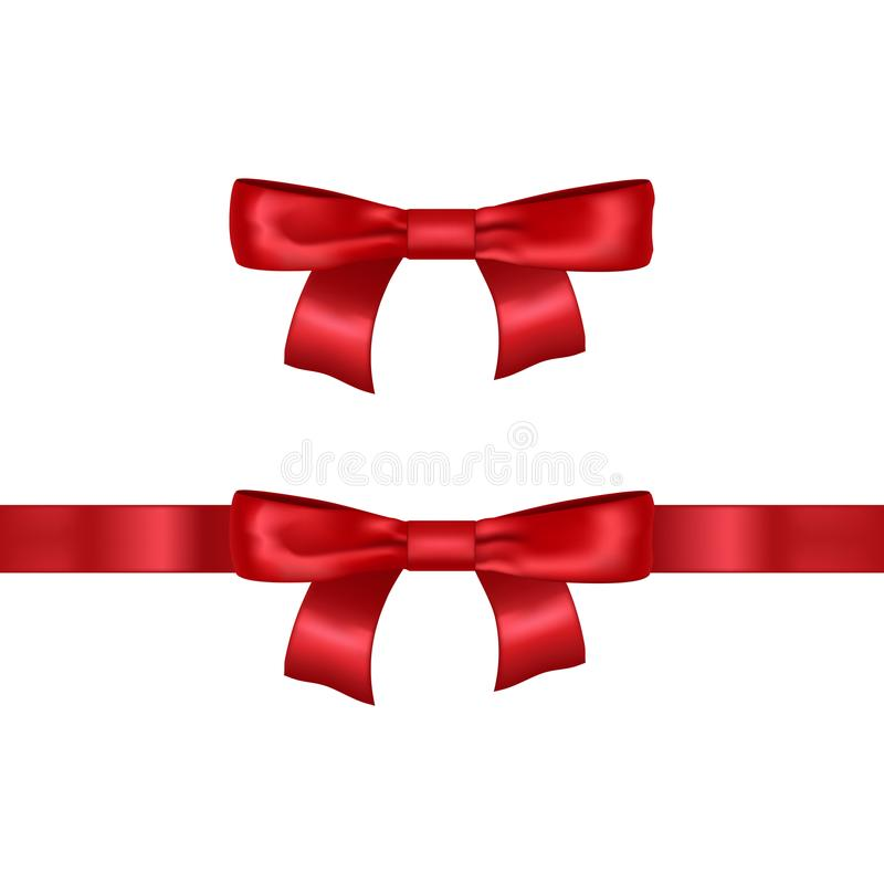 Realistic Detailed 3d Red Bow. Vector vector illustration
