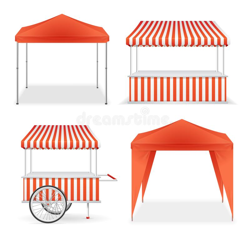 Realistic Detailed 3d Red and Striped Blank Market Stall Template Mockup Set. Vector royalty free illustration