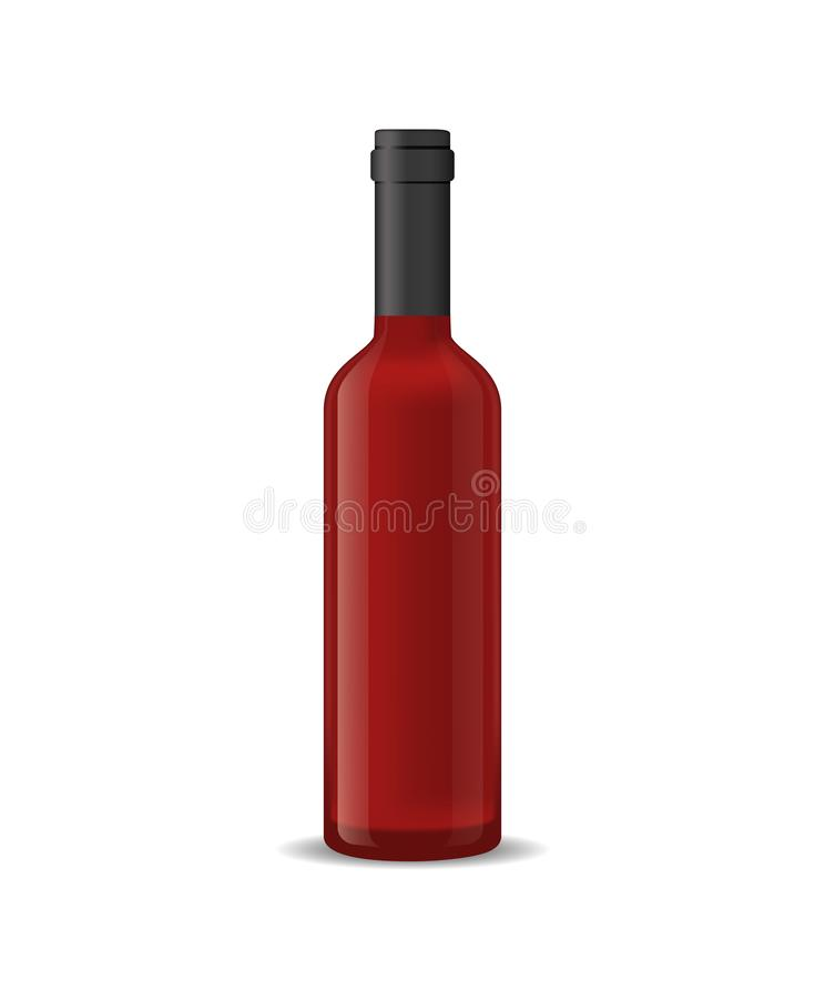 Realistic Detailed 3d Red Wine Bottle Isolated on a White Background. Vector stock illustration