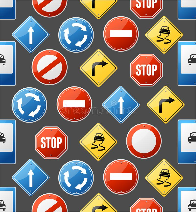 Realistic Detailed 3d Road Sign Seamless Pattern Background. Vector vector illustration