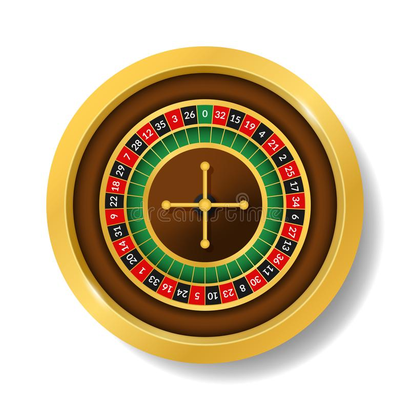 Realistic Detailed 3d Round Casino Roulette. Vector. Realistic Detailed 3d Round Casino Roulette Top View Symbol of Gambling Game, Risk and Win. Vector stock illustration