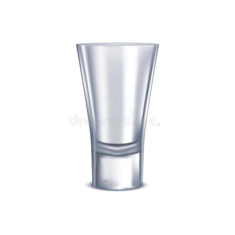 Realistic Detailed 3d Shot Glass Isolated on a White Background. Vector. Illustration of Alcohol Beverage royalty free illustration