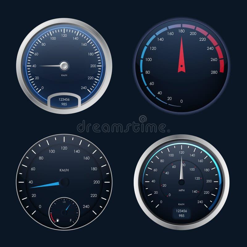 Realistic Detailed 3d Speedometers Set. Vector. Realistic Detailed 3d Speedometers Set Control Speed Auto on Dashboard, Gauge Measurement Car. Vector vector illustration