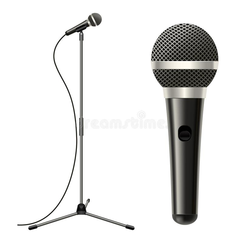 Realistic Detailed 3d Microphone with Stand. Vector vector illustration