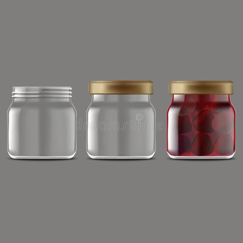 Realistic Detailed 3d Strawberry Jam Glass Jar Set. Vector. Realistic Detailed 3d Strawberry Jam Glass Jar Set with Cap, Full and Empty for Advertising. Vector royalty free illustration