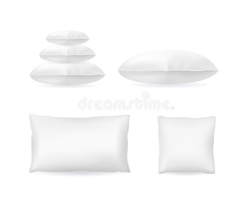 Realistic Detailed 3d Template Blank White Pillow Mock Up Set. Vector. Realistic Detailed 3d Template Blank White Pillow Mock Up Set Pile, Square and Rectangle stock illustration