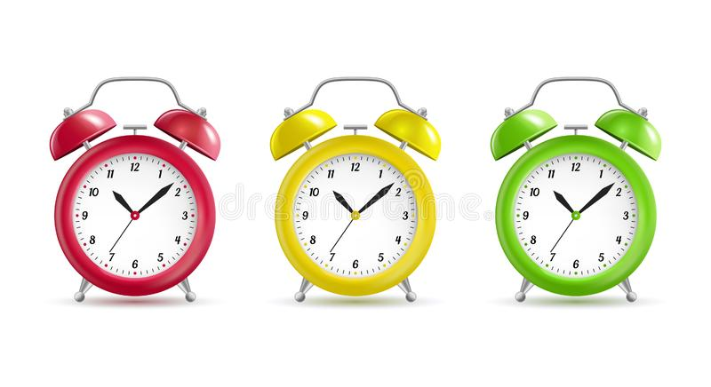 Realistic Detailed 3d Vintage Color Alarm Clocks Set. Vector royalty free illustration
