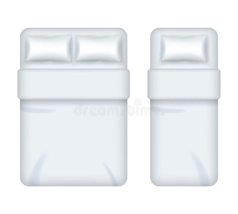 Realistic Detailed 3d White Blank Bedding Template Mockup Set. Vector. Realistic Detailed 3d White Blank Bedding Template Mockup Set Top View for Interior stock illustration