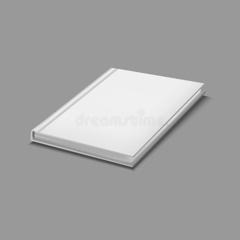 Realistic Detailed 3d White Blank Hardcover Book Template Mockup. Vector stock illustration