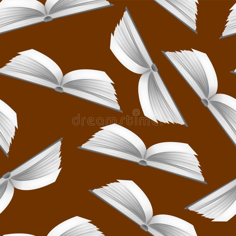 Realistic Detailed 3d White Blank Open Book Seamless Pattern Background 矢量 向量例证