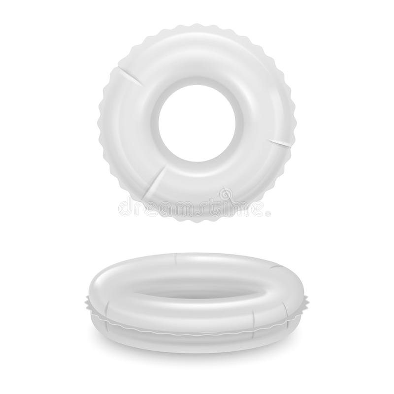 Realistic Detailed 3d White Blank Swim Ring Template Mockup Set. Vector. Realistic Detailed 3d White Blank Inflatable Swim Ring Empty Template Mockup Set. Vector royalty free illustration