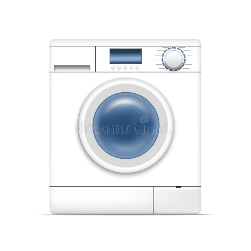 Realistic Detailed 3d White Washing Machine. Vector royalty free illustration