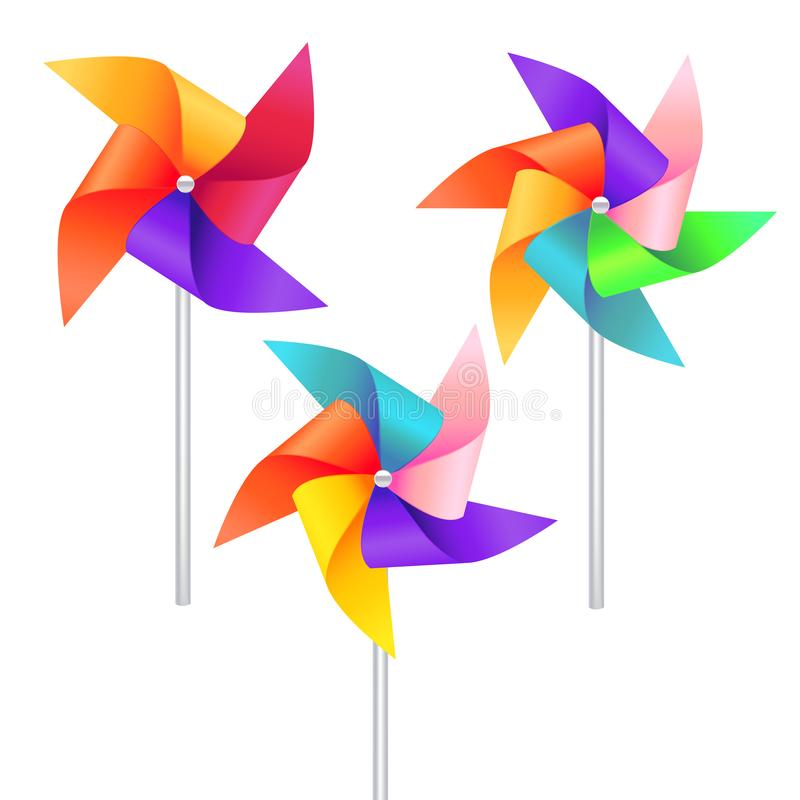 Realistic Detailed 3d Wind Mill Toy Set. Vector royalty free illustration