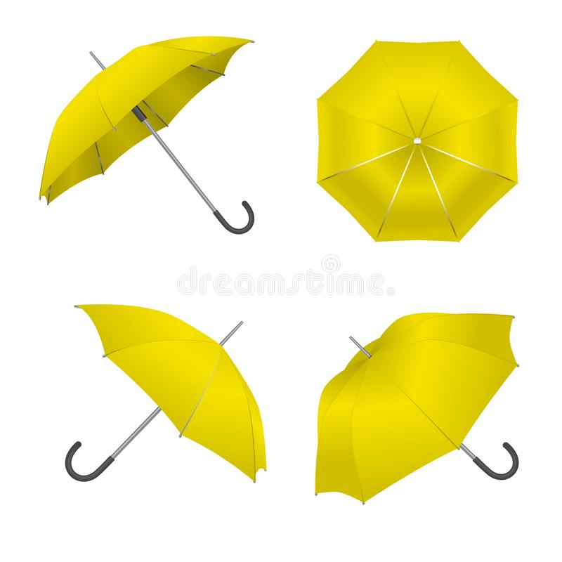 c8837dc4f Realistic Detailed 3d Yellow Blank Umbrella Template Mockup Set. Vector.  Realistic Detailed 3d Yellow