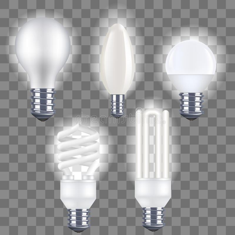Realistic Detailed Fluorescent and Electric Light Bulb on a Transparent Background. Vector stock illustration