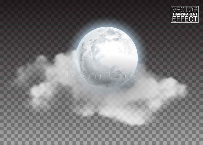 Realistic detailed full big moon with clouds isolated on transparent background. vector illustration