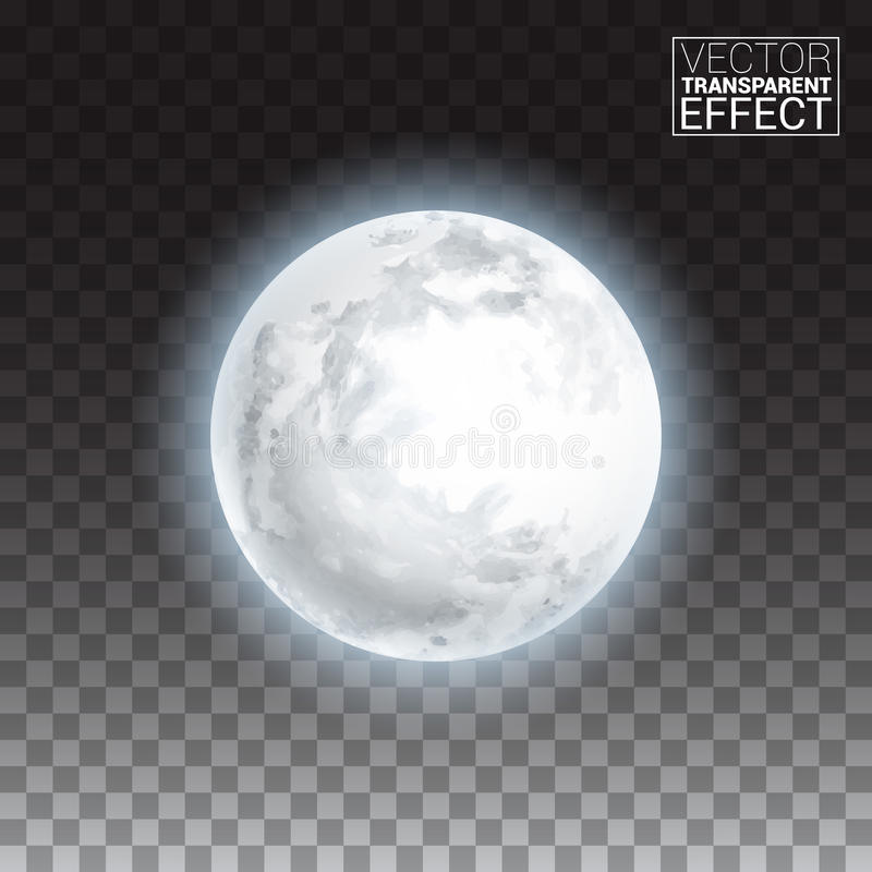 Realistic detailed full big moon isolated on transparent background. stock illustration