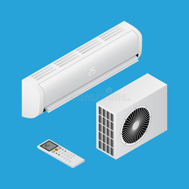 Realistic detailed isometric 3d air conditioning for home. With remote controller, household equipmen for cooling air, vector illustration royalty free illustration