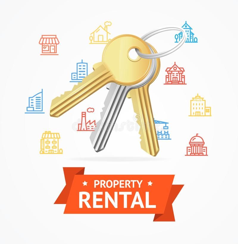 Realistic Detailed Keys to House Property Rental Concept. Vector royalty free illustration