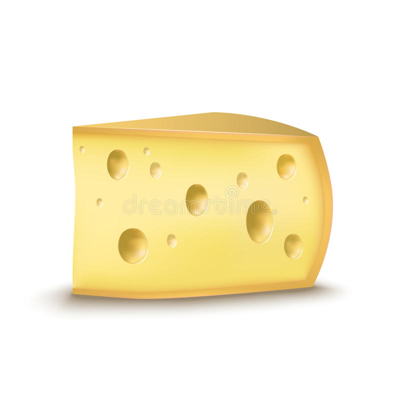 Realistic Detailed Piece Yellow Cheese Product Dairy. Vector royalty free illustration