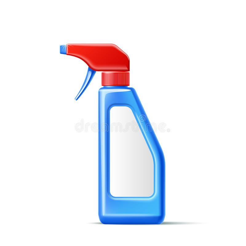 Vector 3d spray pistol detergent bottle mockup royalty free illustration