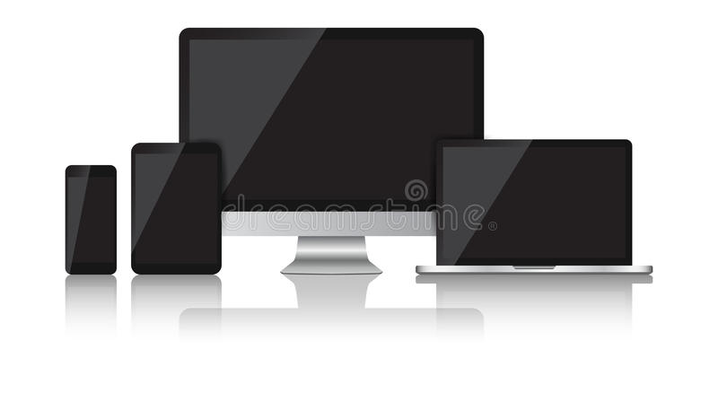 Realistic device flat Icons: smartphone, tablet, laptop and desk vector illustration