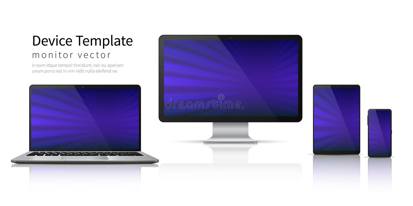 Realistic devices. Computer laptop tablet phone mockup, smartphone screen mobile gadget display. Monitor device template vector illustration