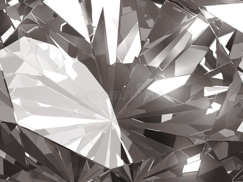 Realistic diamond texture close up with light reflection, 3D illustration. stock illustration