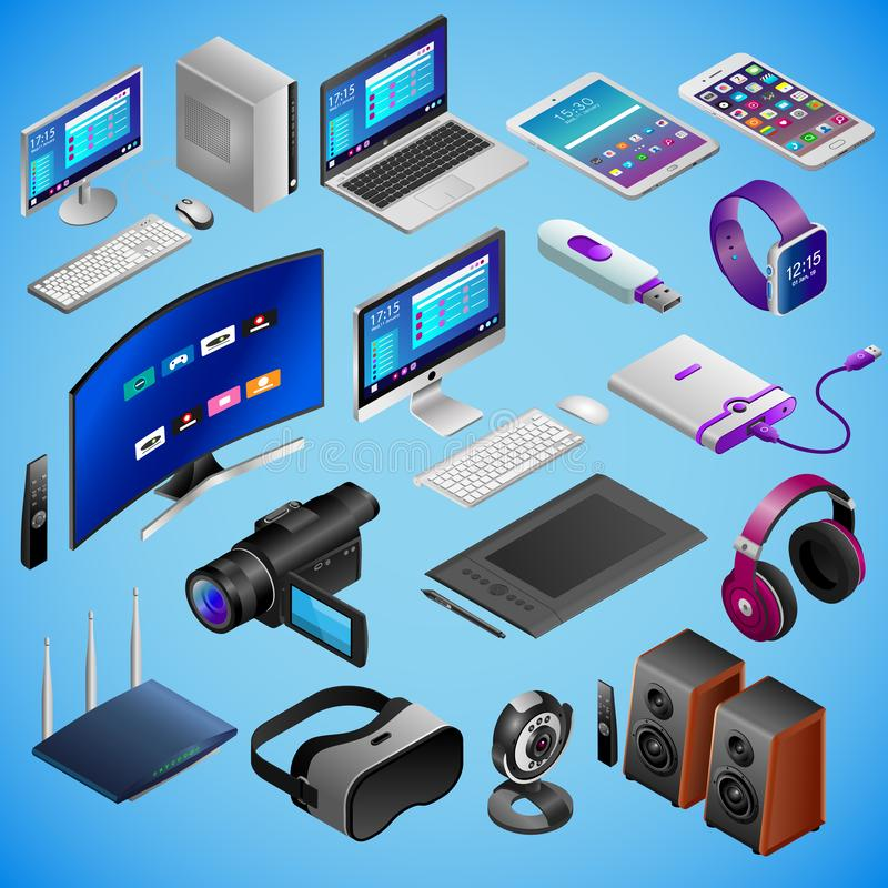 Realistic digital devices in isometry on blue background. Big vector set stock illustration