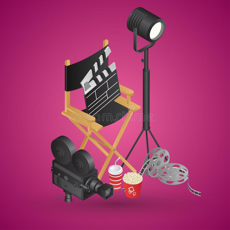 Realistic director chair with video camera, film reel, soft drink and popcorn bucket vector illustration