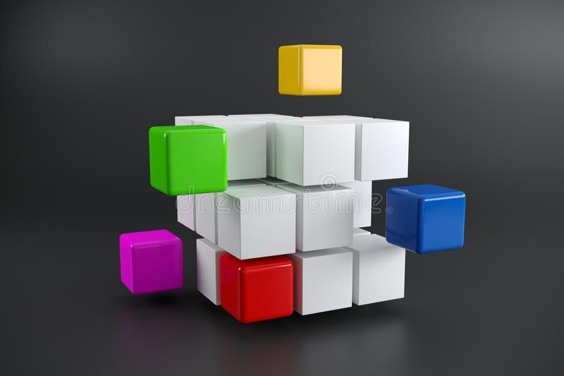 Realistic Disassembled Cube With Colorful Little Cubes Aside On vector illustration