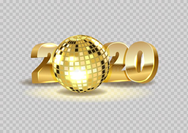 2020 Realistic disco ball, 2020 new year golden shiny numbers isolated on transparent background royalty free illustration