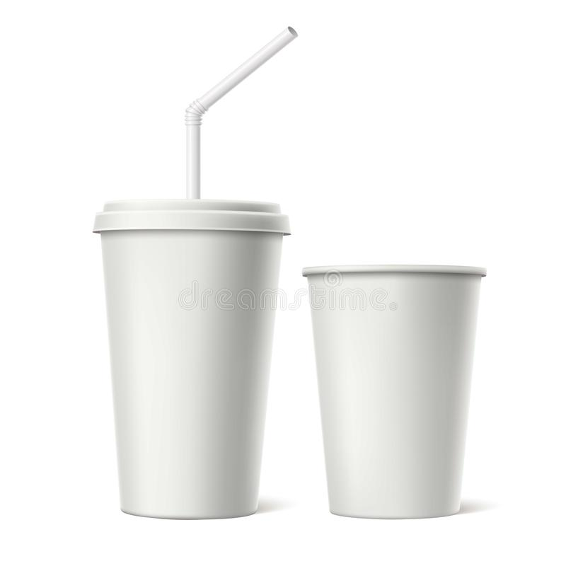 Vector disposable cup with lid straw mockup stock illustration