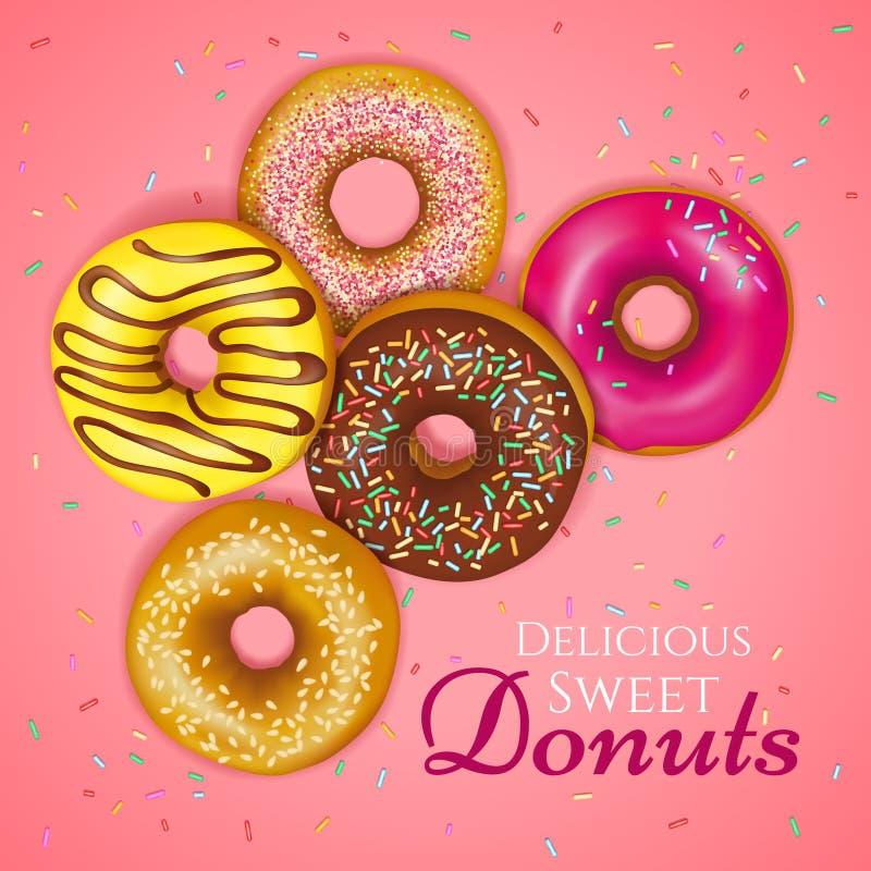 Realistic Donuts Illustration stock illustration