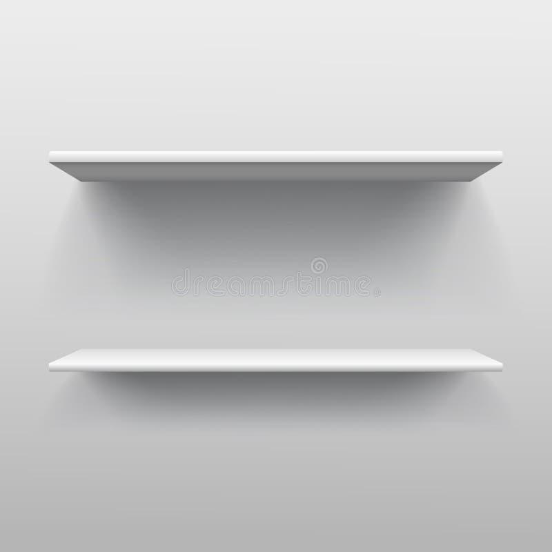 Realistic double book shelf template illustration. Illustration of Realistic double book shelf template vector illustration