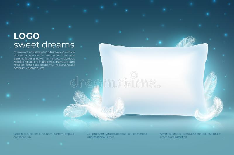 Realistic dream concept. Comfort sleep, bed relax pillow with feathers mockup, clouds stars on night sky. Dream 3D royalty free illustration