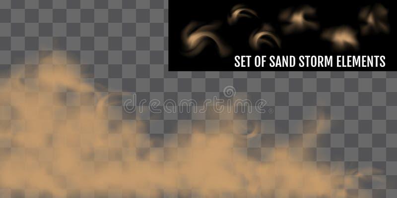 Realistic dust or sand storm. Sandstorm Elements Set. royalty free illustration