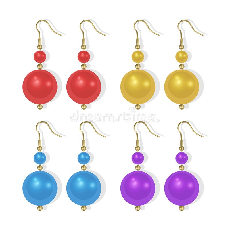 Realistic earrings icons set. Gold jewelry, Pearl earrings of bright colors on white background, Vector EPS 10 illustration. Realistic earrings icons set. Gold vector illustration