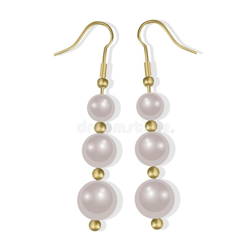 Realistic earrings icons set. Golden jewelry, Pearl earrings on white background, Vector EPS 10 illustration royalty free illustration