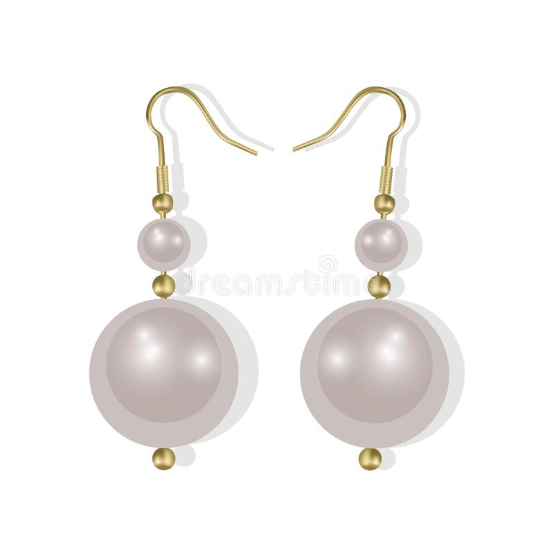 Realistic earrings icons set. Golden jewelry, Pearl earrings on white background, Vector EPS 10 illustration stock illustration